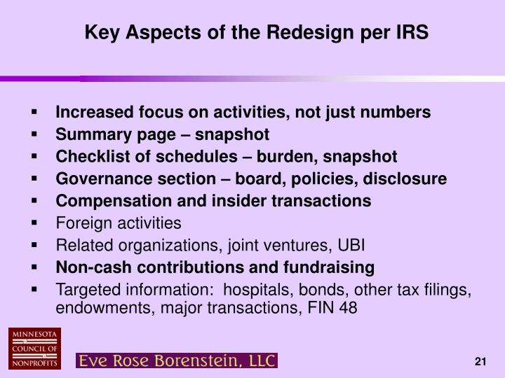 Key Aspects of the Redesign per IRS