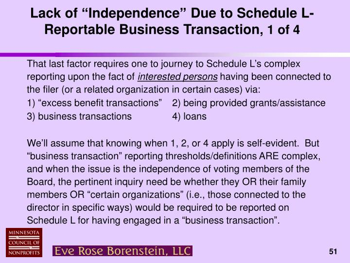 "Lack of ""Independence"" Due to Schedule L-Reportable Business Transaction"