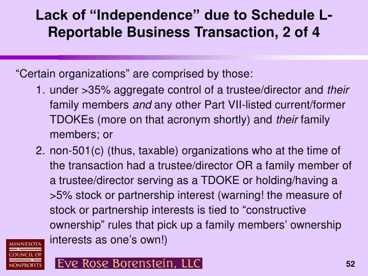 "Lack of ""Independence"" due to Schedule L-Reportable Business Transaction, 2 of 4"