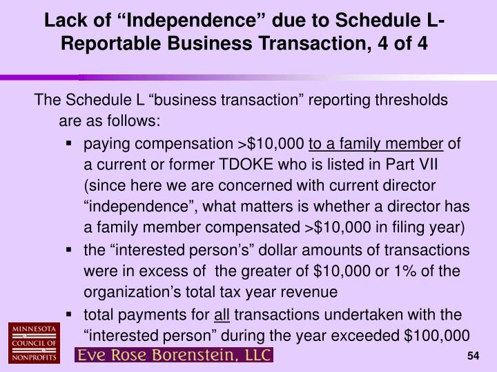 "Lack of ""Independence"" due to Schedule L-Reportable Business Transaction, 4 of 4"