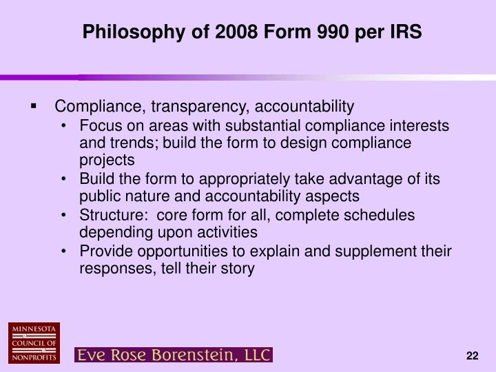 Philosophy of 2008 Form 990 per IRS