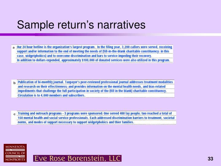 Sample return's