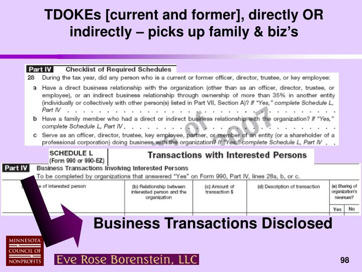 TDOKEs [current and former], directly OR indirectly – picks up family & biz's