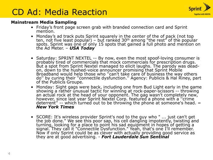CD Ad: Media Reaction