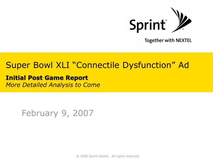 Super bowl xli connectile dysfunction ad initial post game report more detailed analysis to come