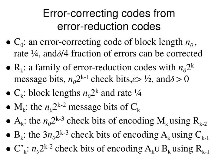 Error correcting codes from error reduction codes