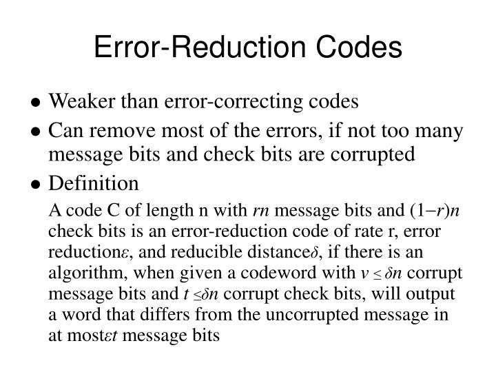 Error reduction codes