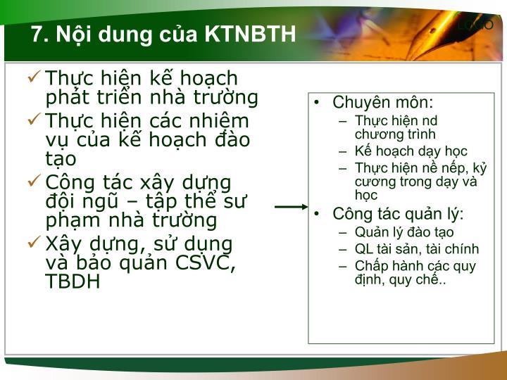 7. Nội dung của KTNBTH
