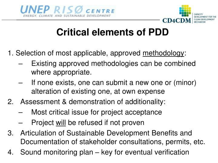 Critical elements of PDD