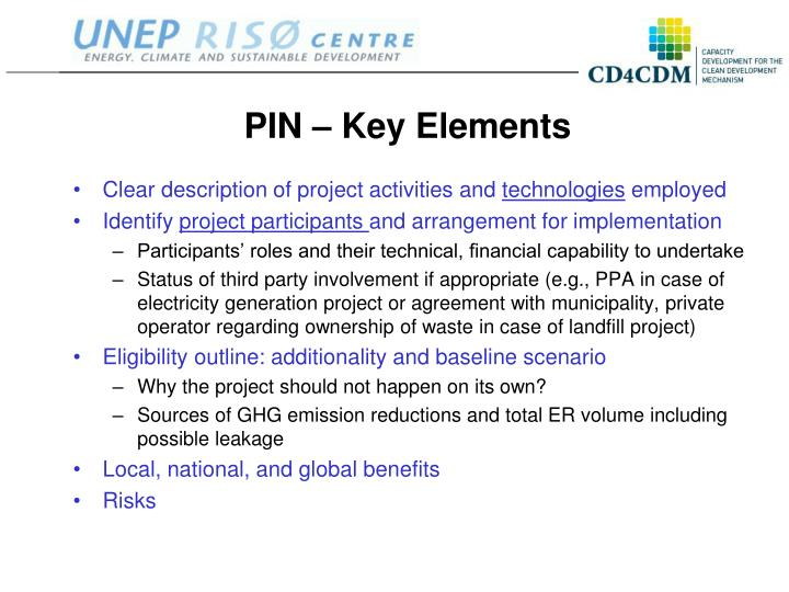 PIN – Key Elements
