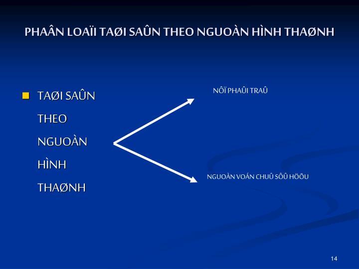 PHAÂN LOAÏI TAØI SAÛN THEO NGUOÀN HÌNH THAØNH