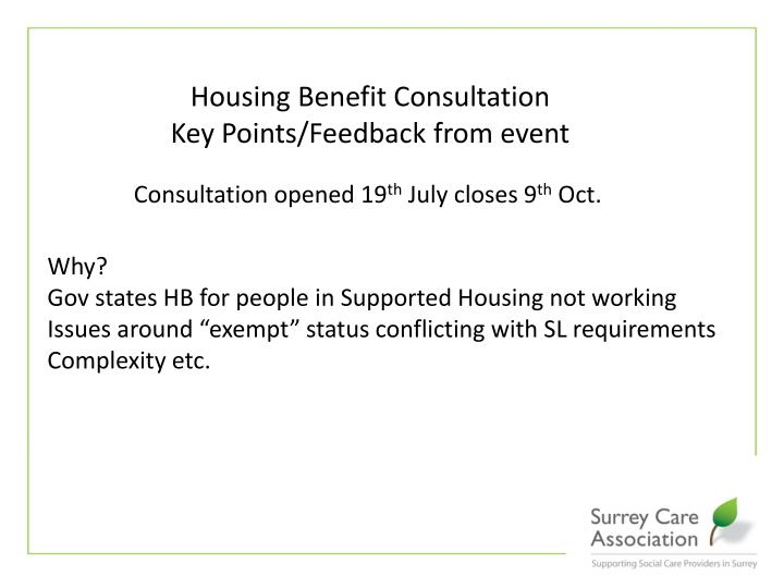 Housing Benefit Consultation