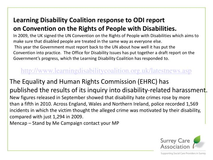 Learning Disability Coalition response to ODI report