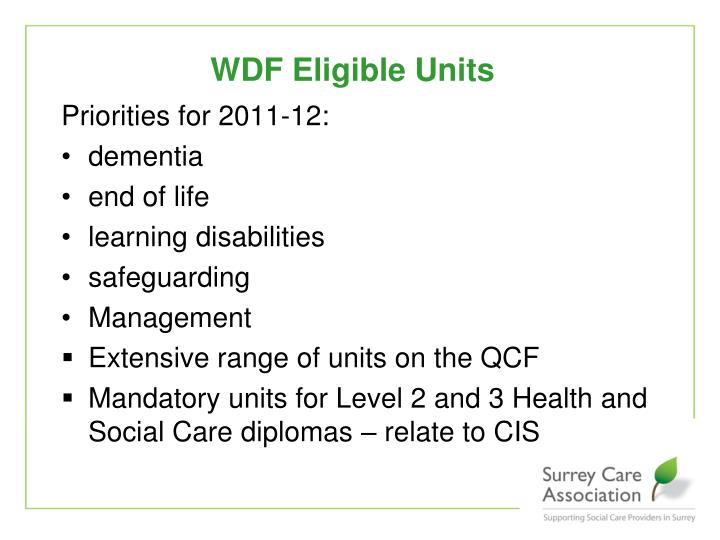 WDF Eligible Units