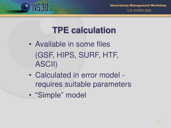 TPE calculation