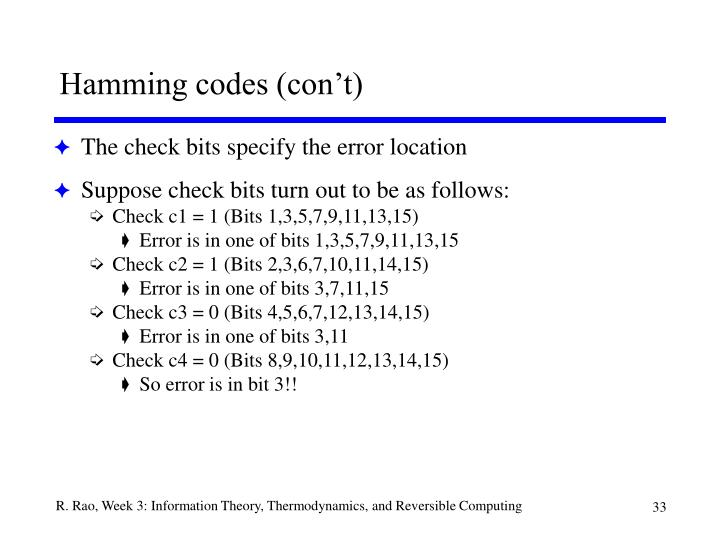 Hamming codes (con't)