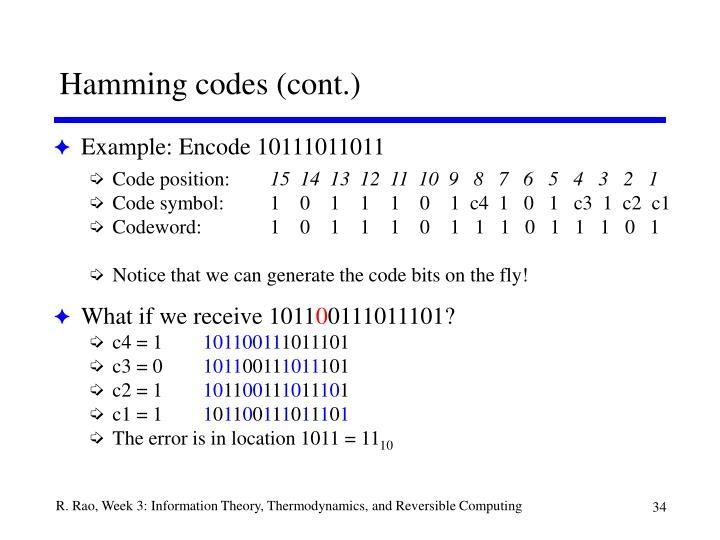 Hamming codes (cont.)