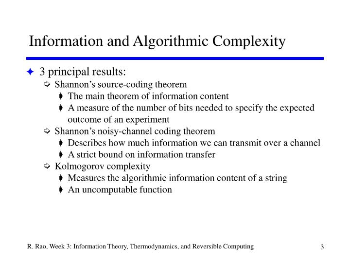 Information and algorithmic complexity