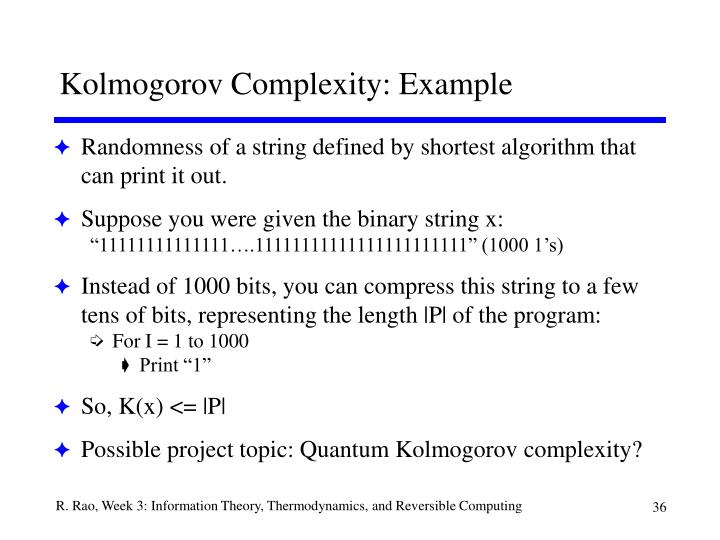 Kolmogorov Complexity: Example