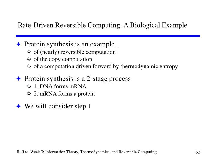 Rate-Driven Reversible Computing: A Biological Example