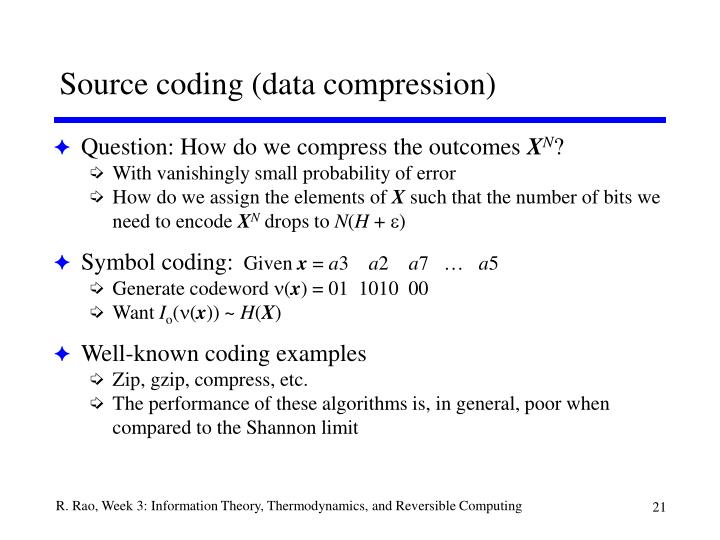 Source coding (data compression)