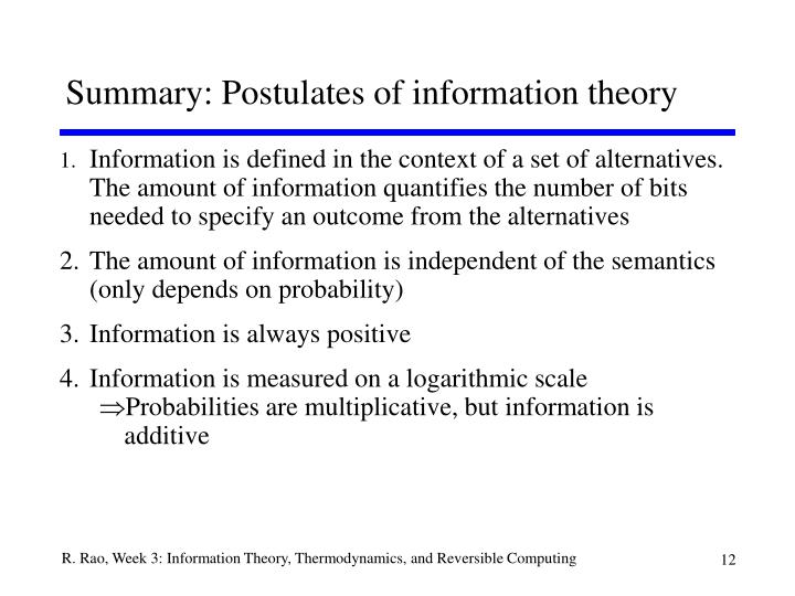 Summary: Postulates of information theory