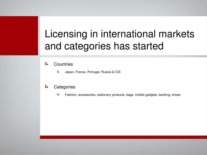 Licensing in international markets and categories has started