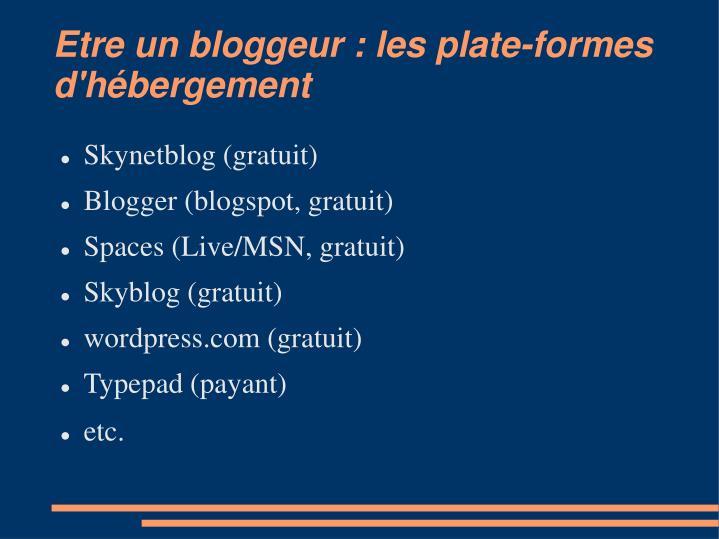 Etre un bloggeur : les plate-formes d'hébergement