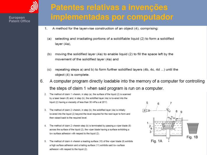 Patentes relativas a invenções implementadas por computador