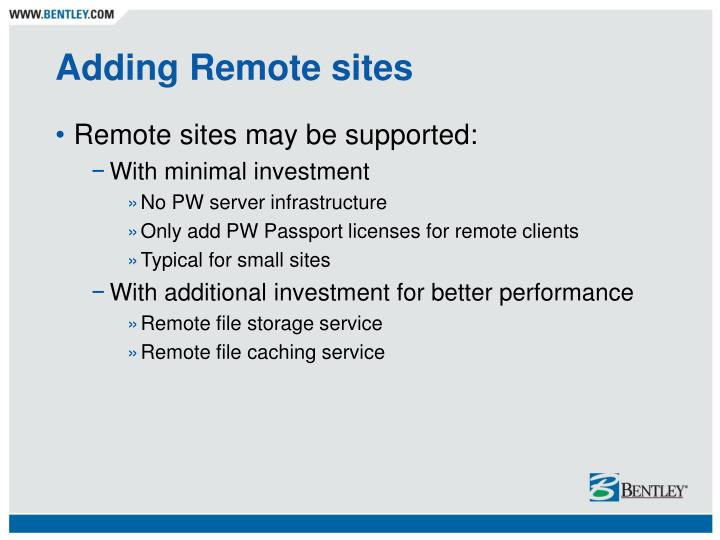 Adding Remote sites