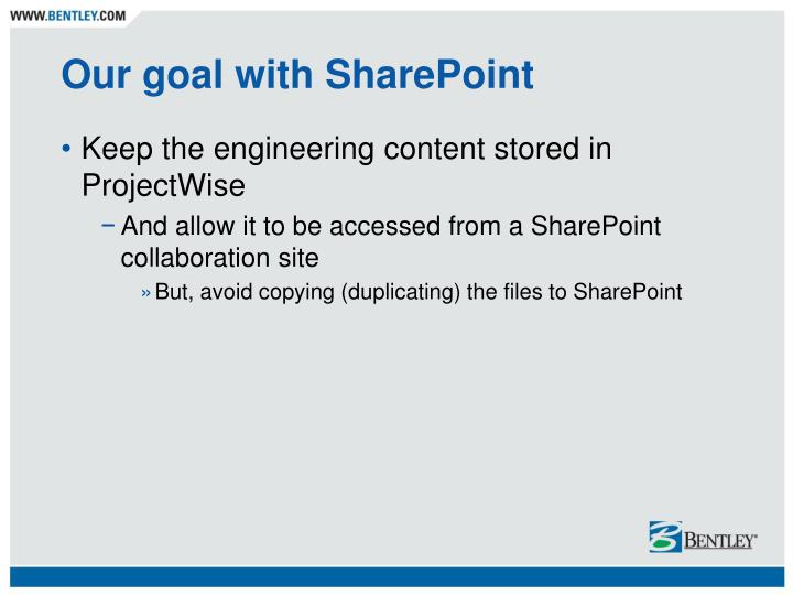 Our goal with SharePoint