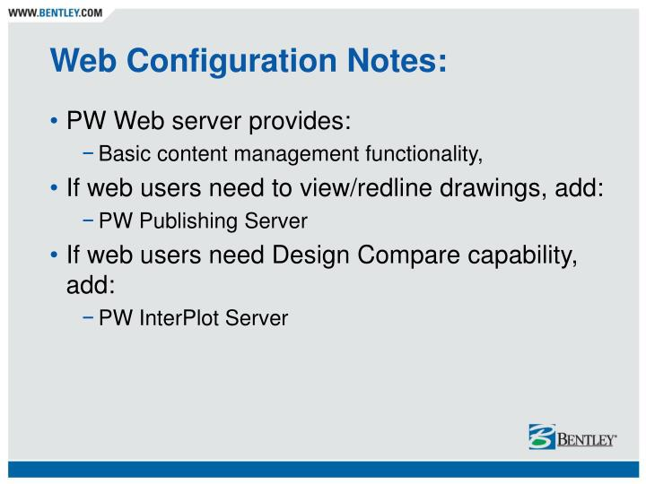 Web Configuration Notes: