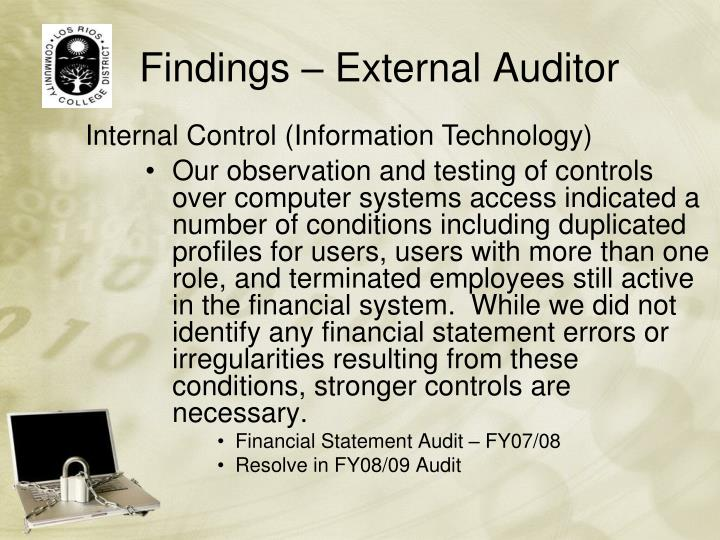 Findings – External Auditor