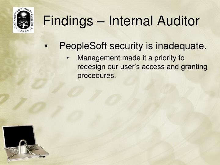 Findings internal auditor