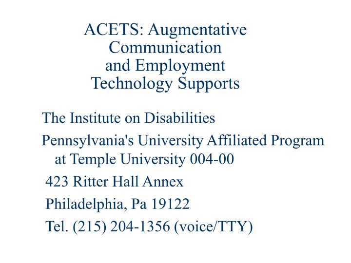 ACETS: Augmentative Communication
