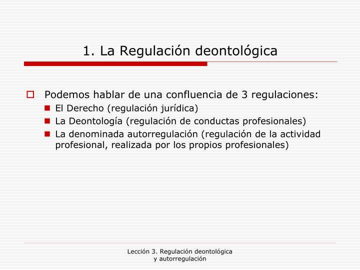 1. La Regulación deontológica