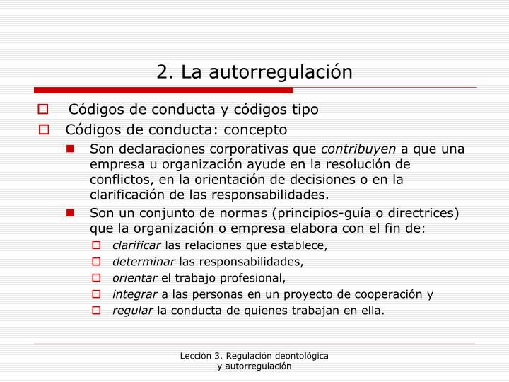 2. La autorregulación