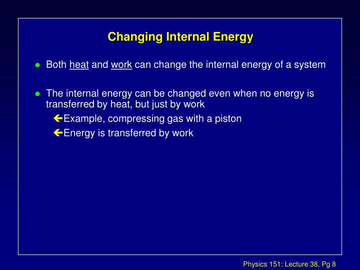 Changing Internal Energy