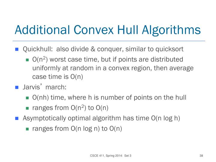 Additional Convex Hull Algorithms