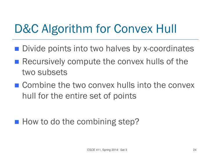 D&C Algorithm for Convex Hull