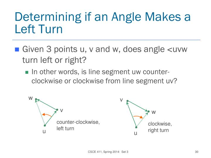 Determining if an Angle Makes a Left Turn