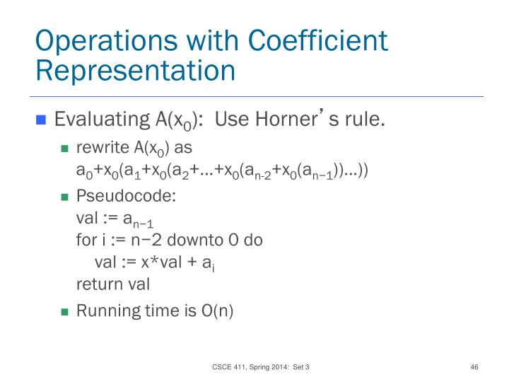 Operations with Coefficient Representation