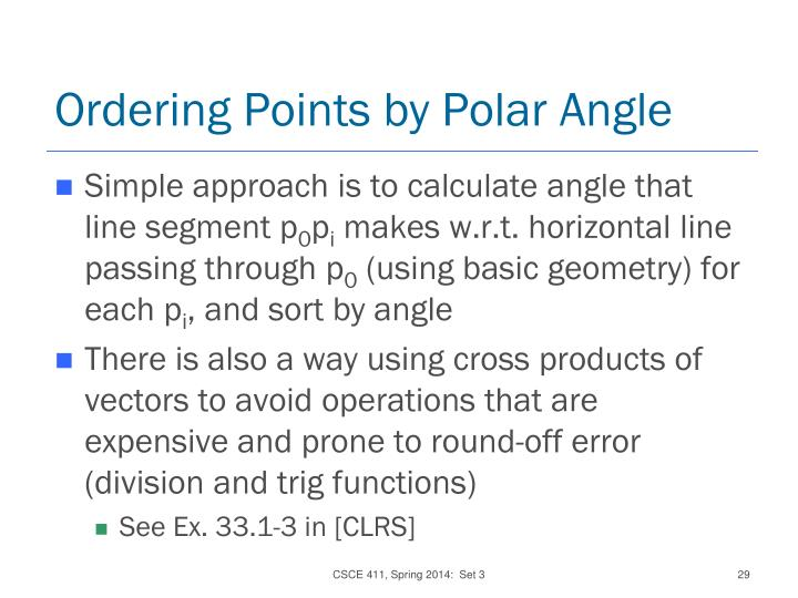 Ordering Points by Polar Angle