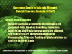 common stock in islamic finance shariah screens example ii s p
