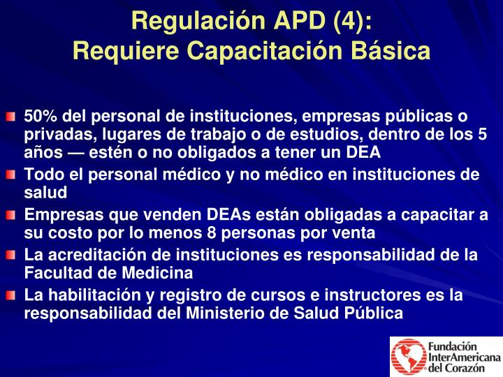 Regulación APD (4):