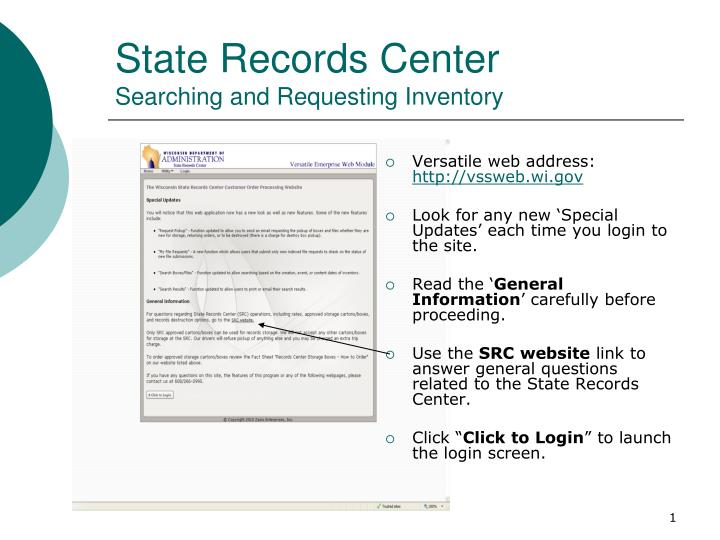 State records center searching and requesting inventory