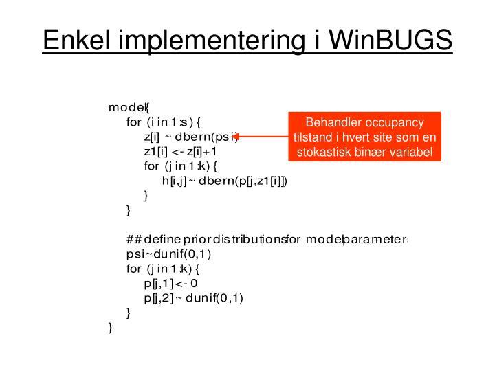Enkel implementering i WinBUGS