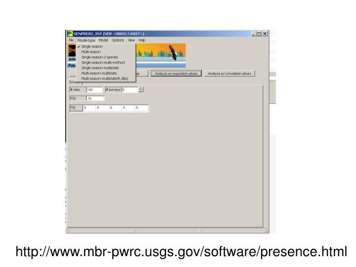 http://www.mbr-pwrc.usgs.gov/software/presence.html