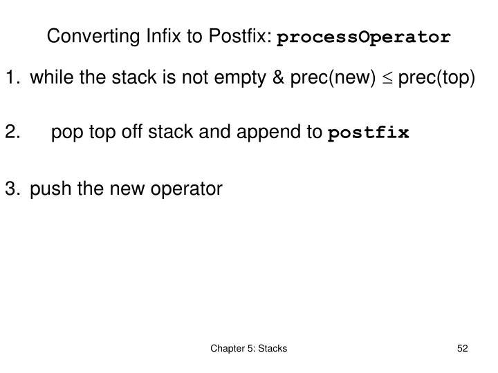 Converting Infix to Postfix:
