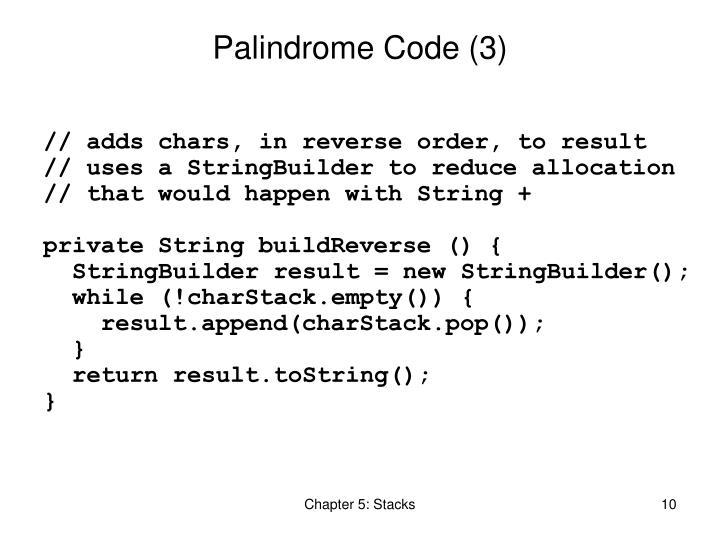 Palindrome Code (3)